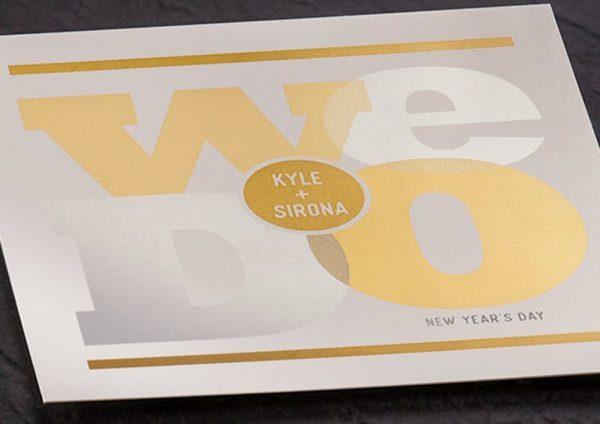 Xerox metallic ink wedding invitation