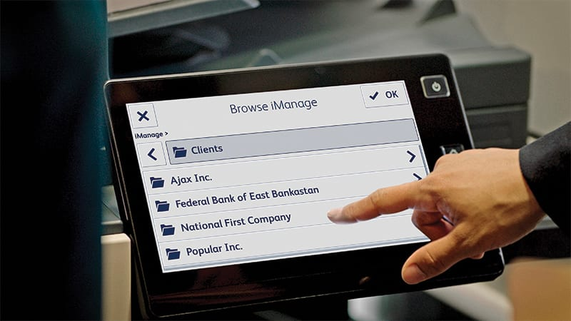 MFP Display screen iManage browse files
