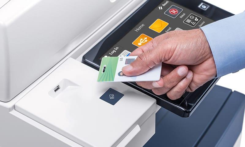 Person scanning work badge